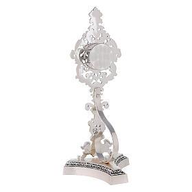 Reliquiario ottone fuso argentato decori floreali s7