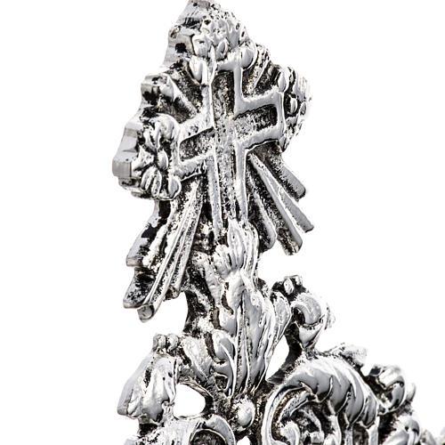 Reliquiario ottone fuso argentato decori floreali 5