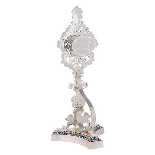 Reliquiario ottone fuso argentato decori floreali 7