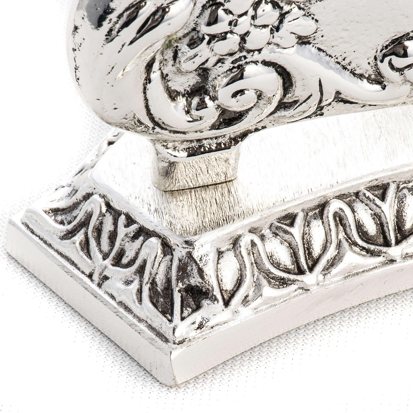 Reliquiario in ottone fuso argentato decori 4