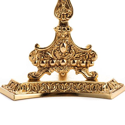 Reliquiario ottone fuso dorato con base 3