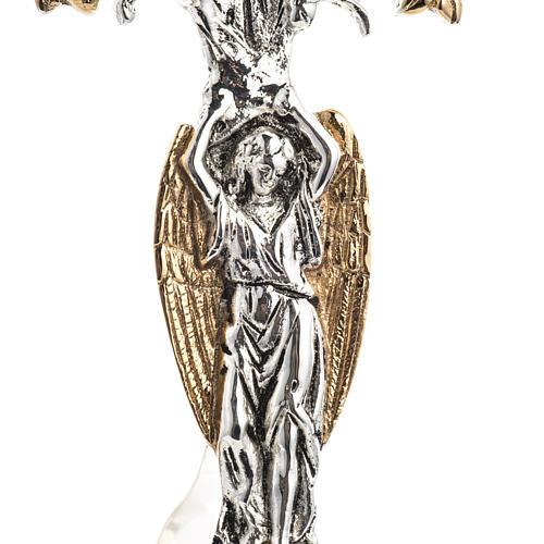 Reliquiario ottone fuso bicolore angelo fiori 3
