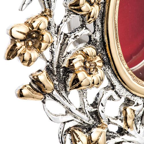 Reliquiario ottone fuso bicolore angelo fiori 6