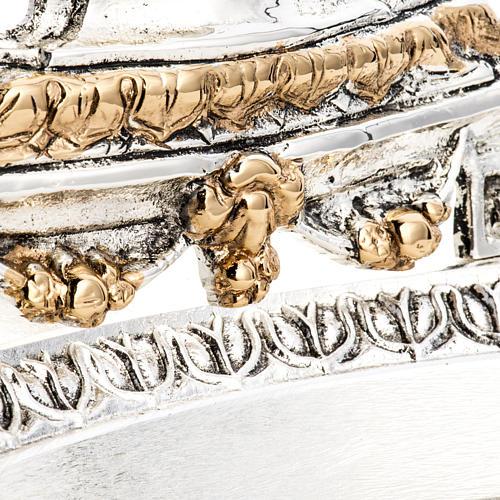 Reliquiario ottone fuso bicolore angelo fiori 7