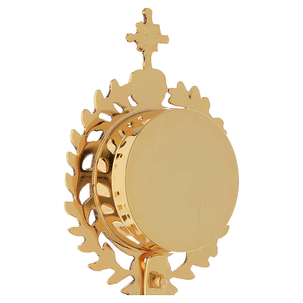 Reliquary in brass, gold-plated with base 4