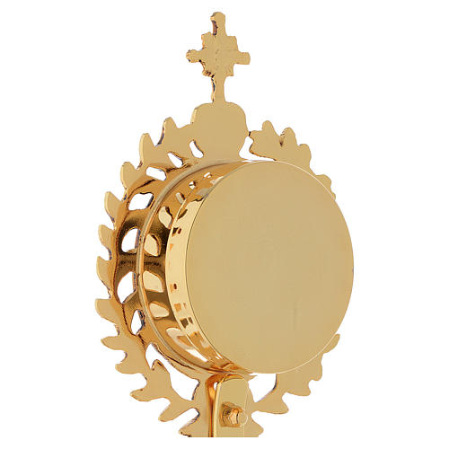 Reliquary in brass, gold-plated with base 6