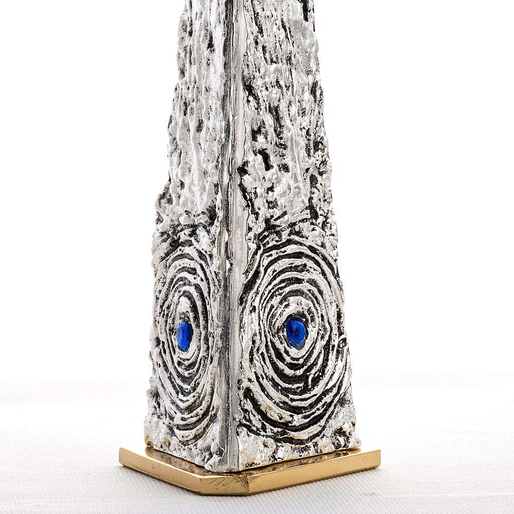 Teca ottone stilizzata pietre blu 4