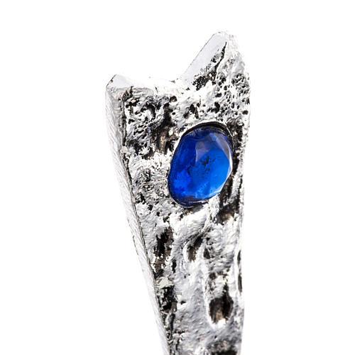 Teca ottone stilizzata pietre blu 6
