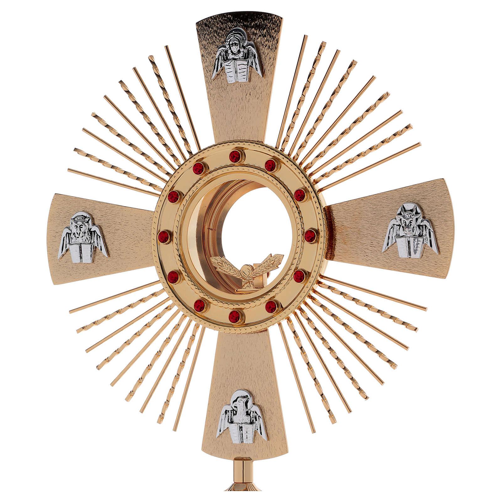 Ostensorio ottone fuso 4 evangelisti pietre rosse 4