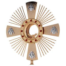 Ostensorio ottone fuso 4 evangelisti pietre rosse s2