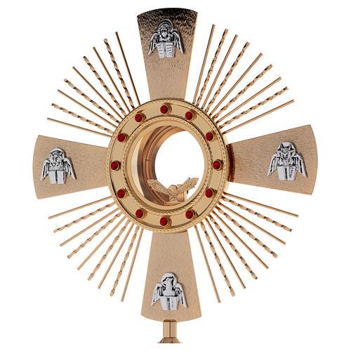 Ostensorio ottone fuso 4 evangelisti pietre rosse 2