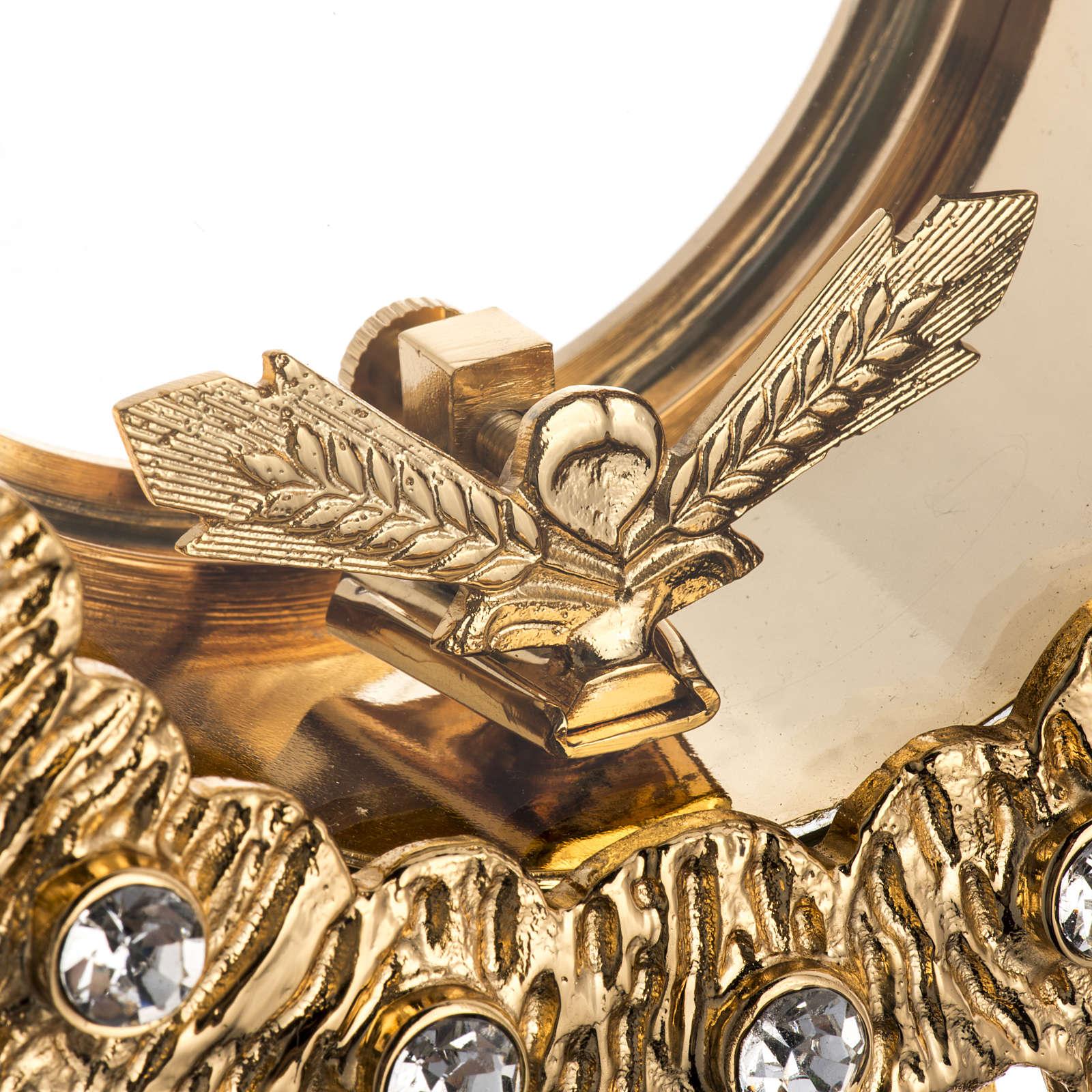Ostensorio ottone fuso 4 angeli nodo cristallo 4