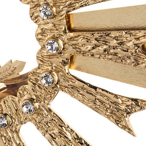 Ostensorio ottone fuso 4 angeli nodo cristallo 3