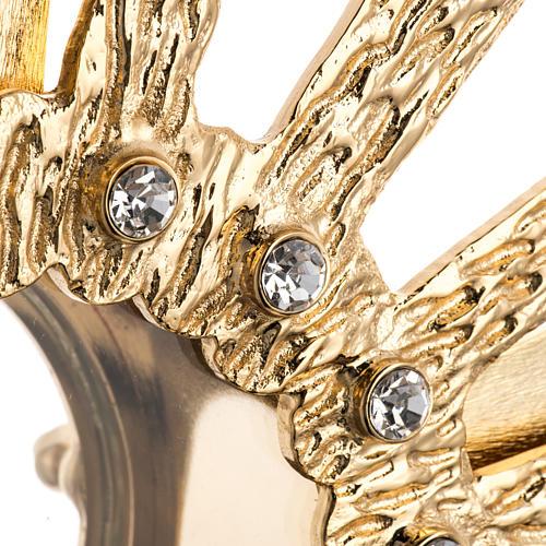 Ostensorio ottone fuso 4 angeli nodo cristallo 6