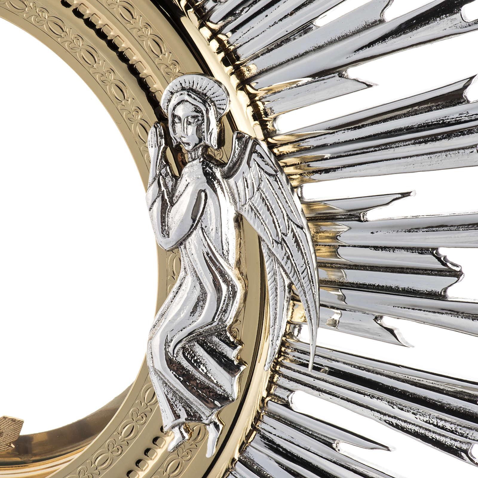 Ostensorio barocco ostia magna angeli ottone argentato 4