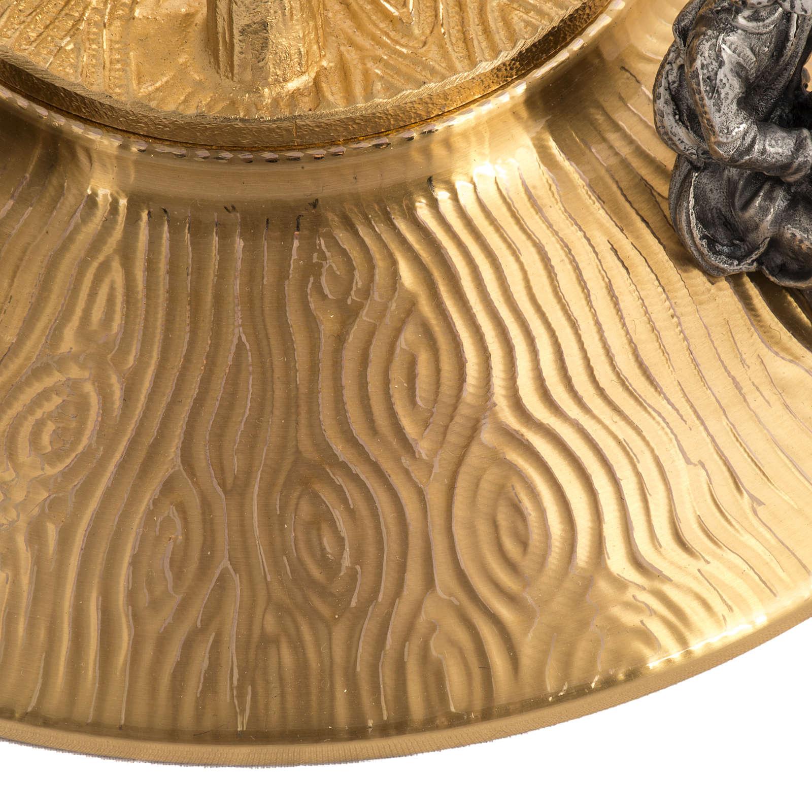 Ostensorio in bronzo dorato con angeli h 60 cm 4