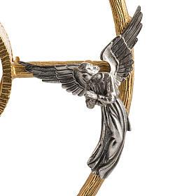 Ostensorio in bronzo dorato con angeli h 60 cm s4