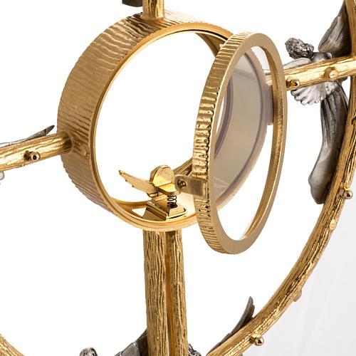 Ostensorio in bronzo dorato con angeli h 60 cm 12