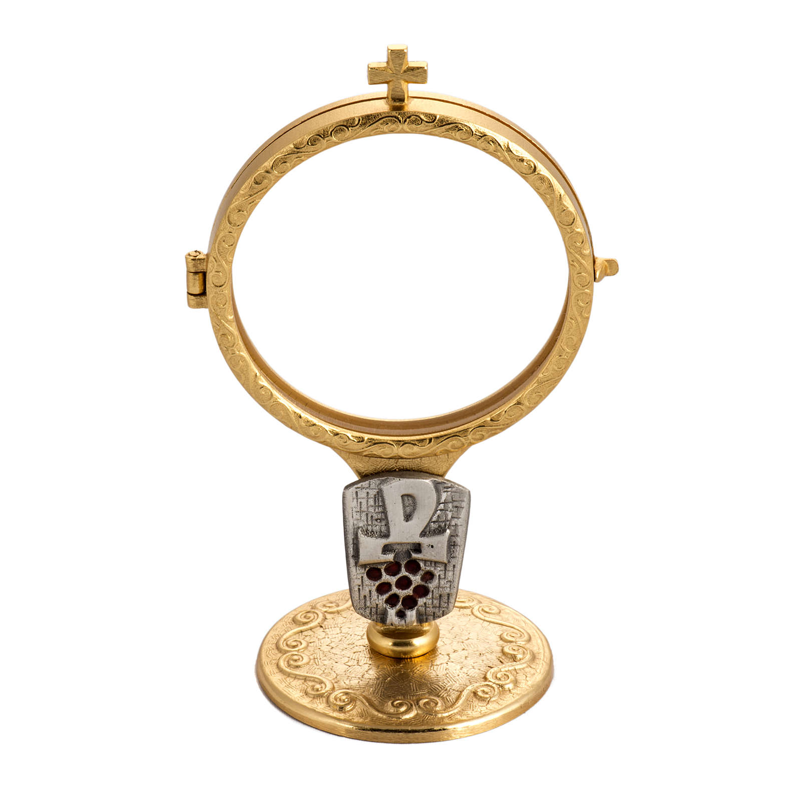 Shrine for Magna Host in gold-plated brass with Chi-Rho and grapes 4