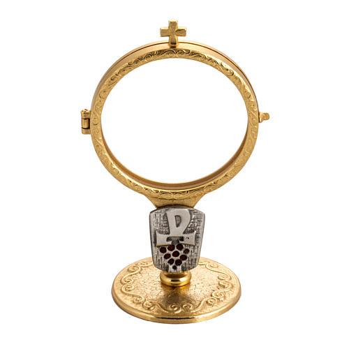 Shrine for Magna Host in gold-plated brass with Chi-Rho and grapes 1
