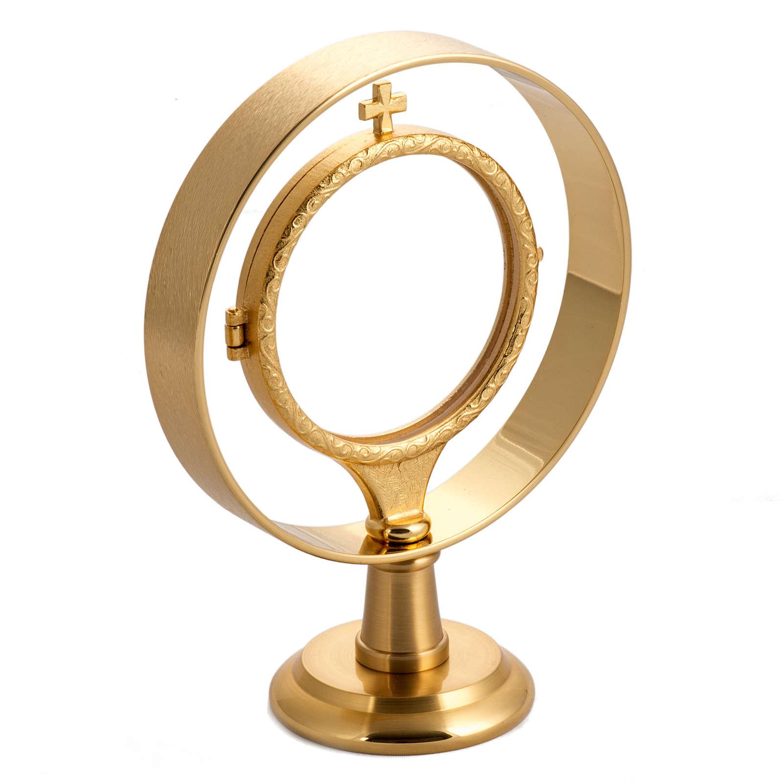 Teca per ostia magna (diam 7 cm) ottone dorato liscio 4