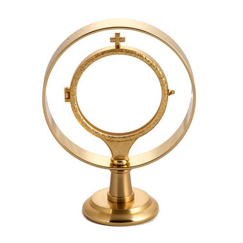 Teca per ostia magna (diam 7 cm) ottone dorato liscio 1