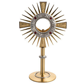 Two tone monstrance with 4 red stones s1