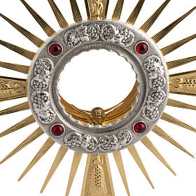 Two tone monstrance with 4 red stones s2
