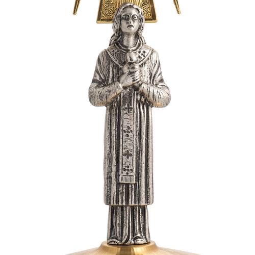 Ostensorio ottone con santo in bronzo 3