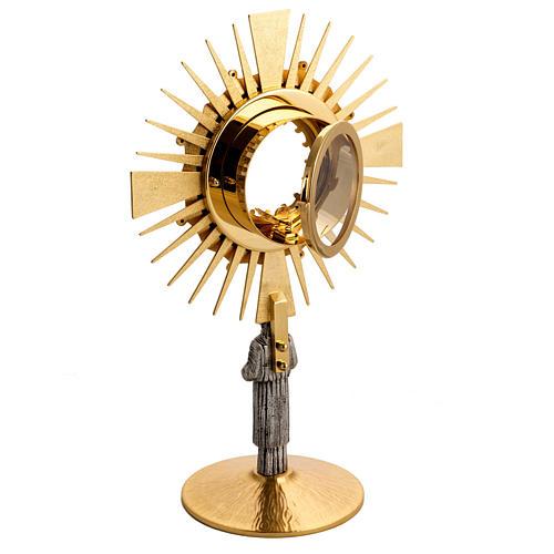 Ostensorio ottone con santo in bronzo 7