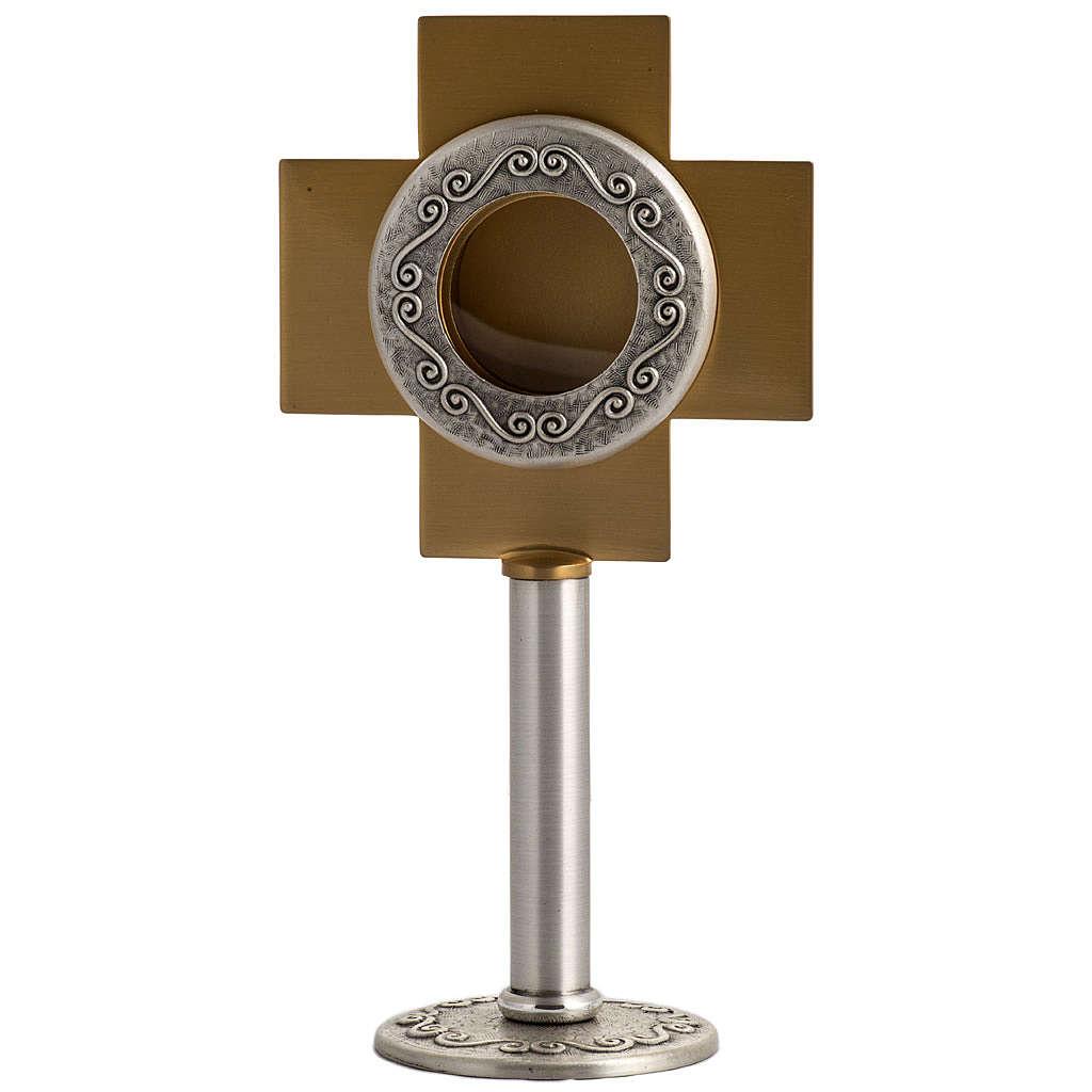 Reliquiario in ottone argentato, croce dorata 4