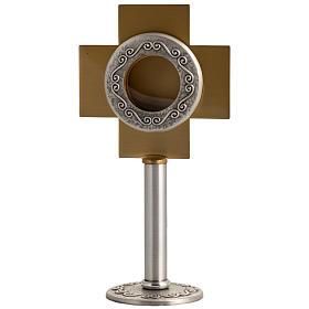 Reliquiario in ottone argentato, croce dorata s1