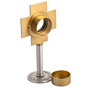 Reliquiario in ottone argentato, croce dorata s4
