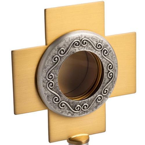 Reliquiario in ottone argentato, croce dorata 3