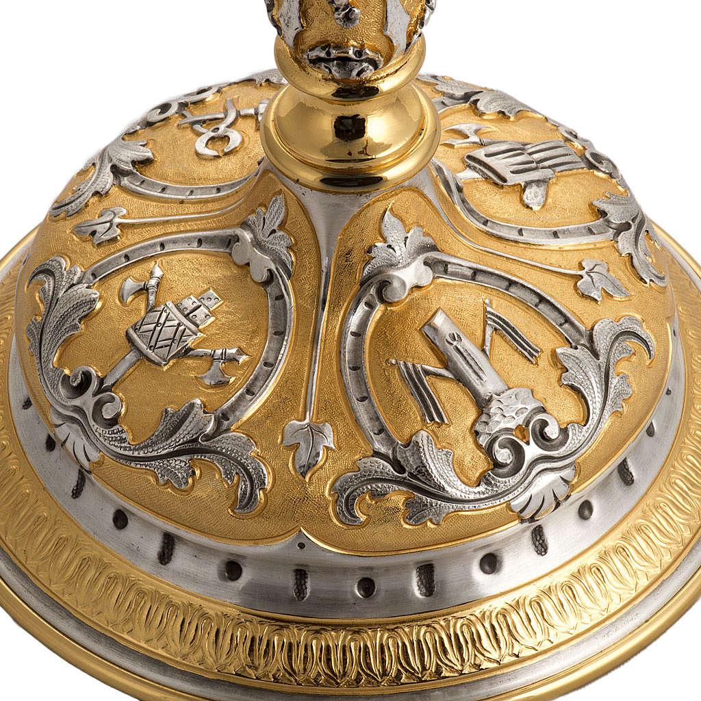 Ostensorio ottone cesellato bicolore con putti 4