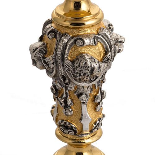 Ostensorio ottone cesellato bicolore con putti 5