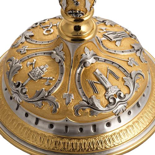 Ostensorio ottone cesellato bicolore con putti 6