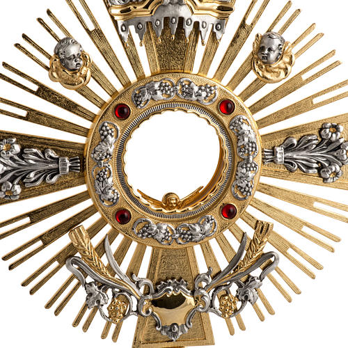 Two tone monstrance with putti and red stones 2