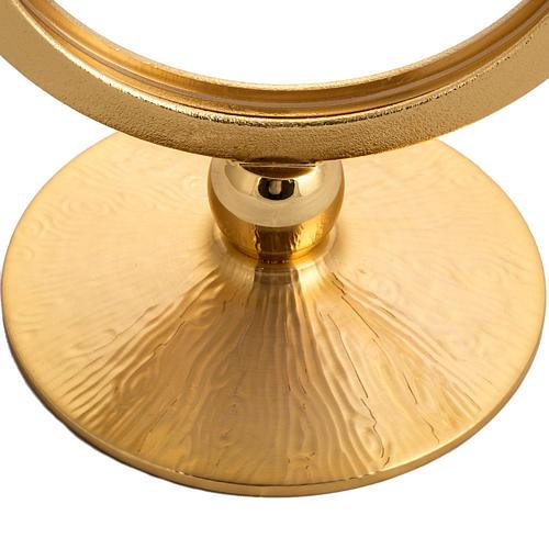 Ostensorio latón dorado para hostias de 15 cm 2