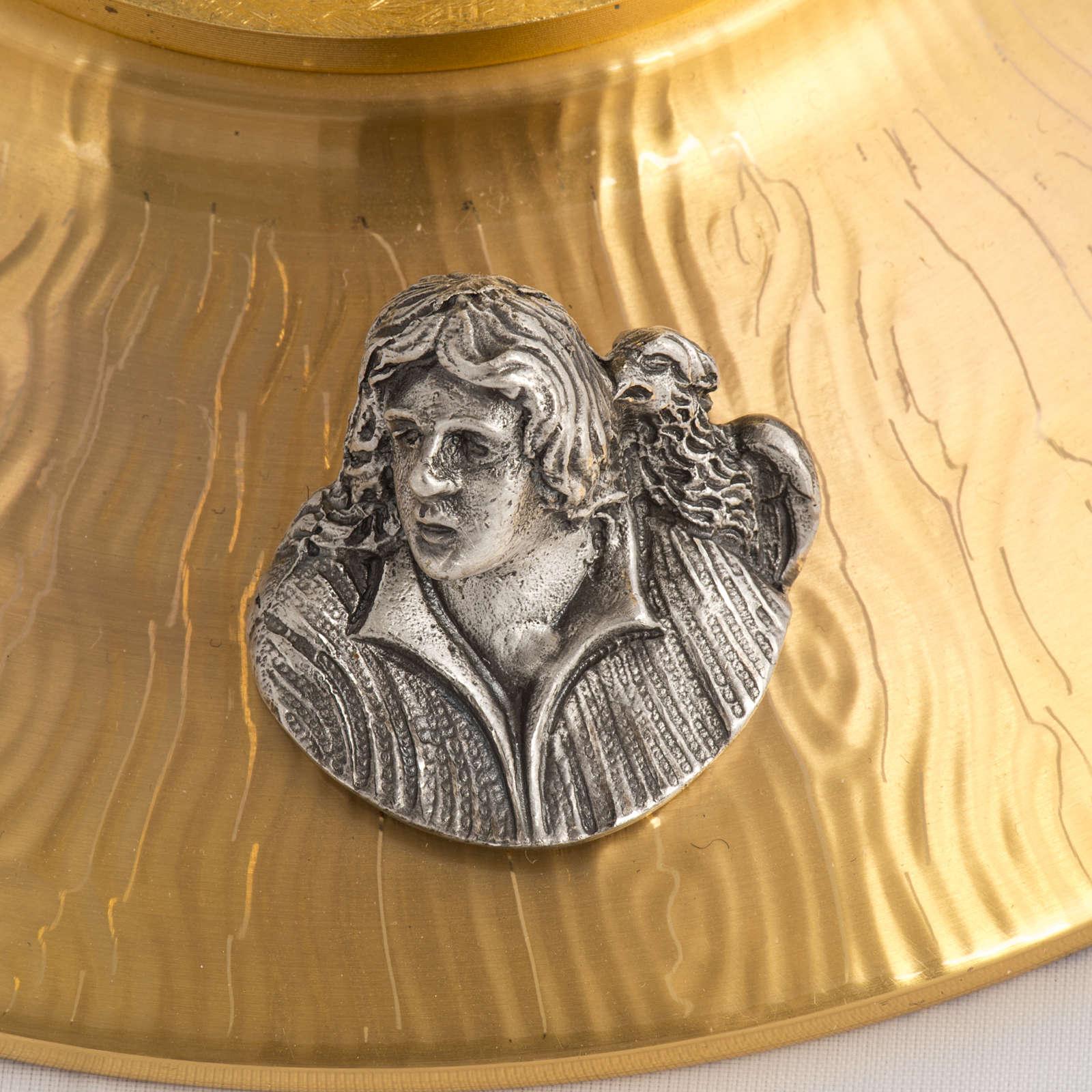 Ostensorio bronce fundido Evangelistas lirios 55 cm alto 4