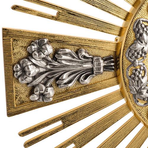 Ostensorio bronce fundido Evangelistas lirios 55 cm alto 3
