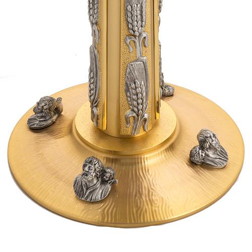 Ostensorio bronce fundido Evangelistas lirios 55 cm alto 5