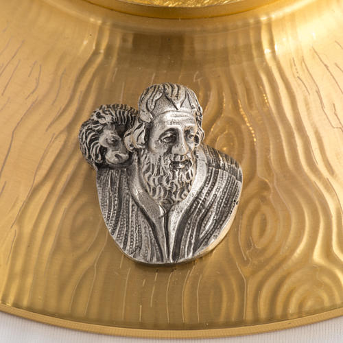 Ostensorio bronce fundido Evangelistas lirios 55 cm alto 7