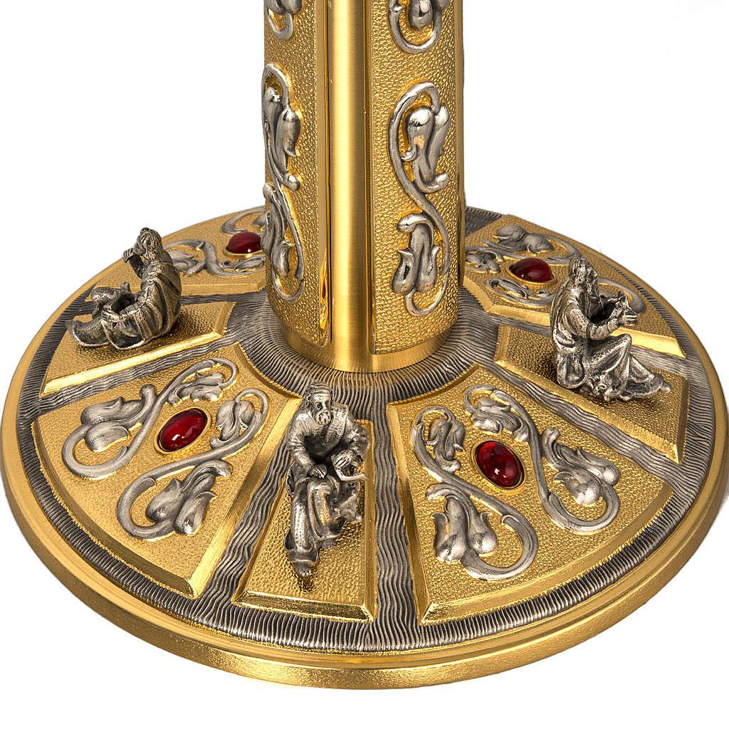 Ostensorio in ottone e figure in bronzo, pietre rosse 4