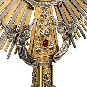 Ostensorio in ottone e figure in bronzo, pietre rosse s4