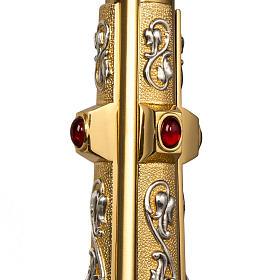 Ostensorio in ottone e figure in bronzo, pietre rosse s5
