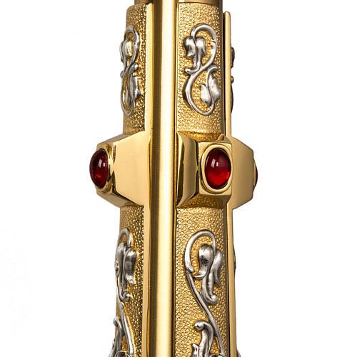 Ostensorio in ottone e figure in bronzo, pietre rosse 5