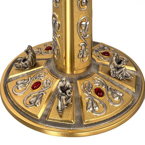 Ostensorio in ottone e figure in bronzo, pietre rosse 6