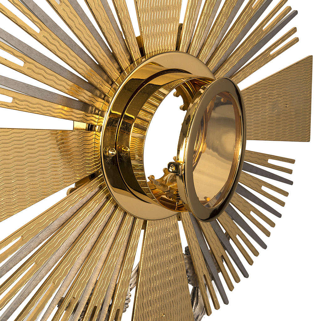 Monstrance in brass with figurines in bronze, with red stones 4