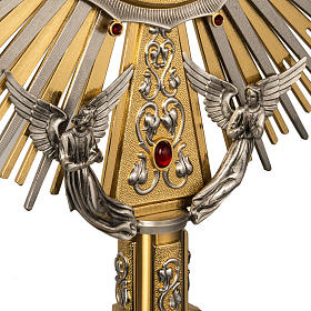 Monstrance in brass with figurines in bronze, with red stones s4